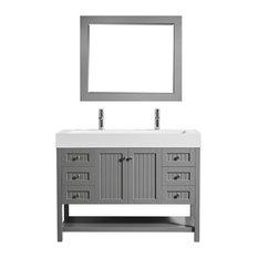 "Pavia Bathroom Vanity With Acrylic Undermount Sink, Gray, 48"", With Mirror"