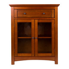 """32""""H Wooden Shelved Floor Storage Cabinet With 1 Drawer And Double Doo"""