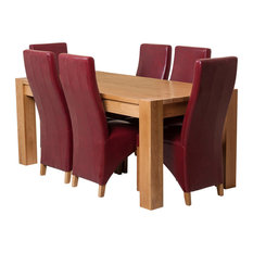 Kuba Chunky Oak Dining Table With 6 Lola Chairs, 180 cm, Red Leather