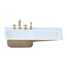 "42"" Farm Sink Brown-Gray Single Drainboard Drop, Cast Iron Kitchen Sink Set"