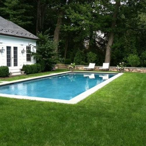 Thoughts re grass only no pavers patio around pool for Swimming pool surrounds design