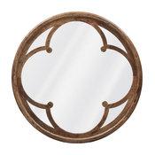 Neve Modern Brown Wood Round Large Mirror - 48D