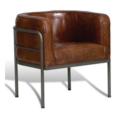 25-inch Wide Dining Chair Top Grain Leather Vintage Brown Sleek Aged Iron Frame