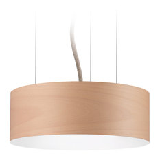 Veneli Slim Pendant Light, Natural Beech Veneer, Small