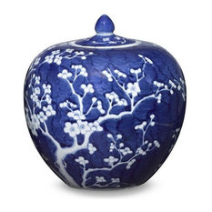 Blue and White Cherry Blossom Rounded Ginger Jar, 10""