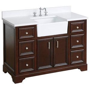"Zelda Bathroom Vanity, Base: Chocolate, 48"", Top: Quartz, Single Sink"