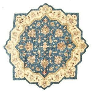 Ziegler Oriental Rug, Round, Pakistan Hand-Knotted Classic, 198x198 cm