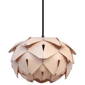 Cynara Wood Lampshade, Bamboo, Small, Open