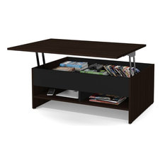 Bestar   Bestar Small Space Lift Top Coffee Table, Dark Chocolate And Black