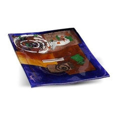 Abstract Spiral Square Platter, 12""