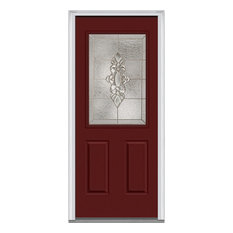 "Heirloom Master 1/2 Lite 2-Panel Steel, Burgundy, 37.5""x81.75"", Right"