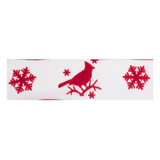 """2.5""""x10 yd. Ivor yd. Red Cardinal Snowflake Wired Ribbon"""