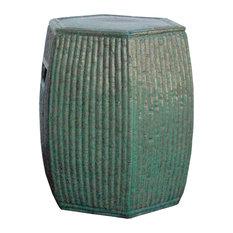Chinese Hexagon Bamboo Theme Turquoise Green Ceramic Clay Garden Stool Hcs4220