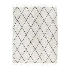 Albin White and Black Diamond Shag Rug, 8'x10'