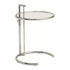 Fine Mod Imports   Adjustable Height End Side Table, Clear   Side Tables  And End