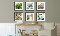 Cozy Reading Nook with Set of Six French Watercolor Prints