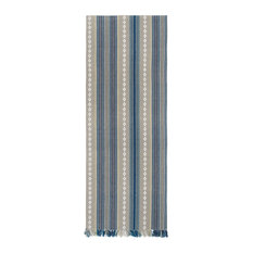 "100% Cotton Blue White/Gray Striped 12""x72"" Table Runner, Set of 2, Adobe Sky"