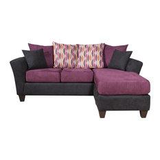Chelsea Home   Ludlow Chaise Sofa, Bulldozer Eggplant   Sectional Sofas