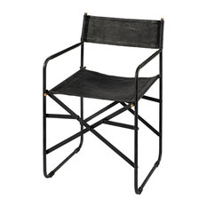 Direttore Black Iron Frame Black Leather Dining Chair