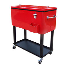Steel 80 qt. Patio Cooler w Cart in Red - Coolers
