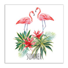 "Artsy Canvas - Flamingo and Tropical Plants Tropical Art Matte Poster 36""x36"" - Prints and Posters"