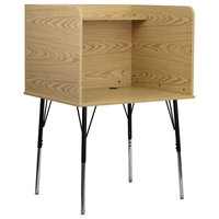 OffexStudy Carrel with Adjustable Legs and Top Shelf in Oak Finish