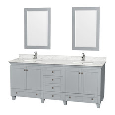 "Acclaim Oyster Gray DBL Vanity, Mirrors 80"" White Carrera Undermount Square"