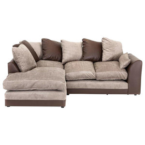 Modern Corner Sofa, Brown Faux Leather Structure, Chenille Fabric Seat, Left