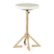 20.00-inch L Crescente Adjustable Accent Table Brass Side Stainless Ste Marble