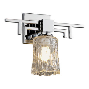 Veneto Luce Aero Wall Sconce, Cylinder With Rippled Rim, Clear Textured Glass