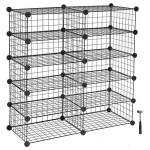 Modern Cube Shoe Rack, Metal Wiremesh With 10 Compartments, Black