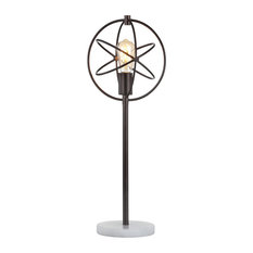 """Atomic Caged 26.5"""" Edison Bulb Metal and Marble LED Table Lamp,"""