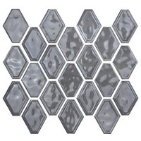 "12""x12"" Glazed Ceramic Diamond Mosaic Tile, Medium Gray"