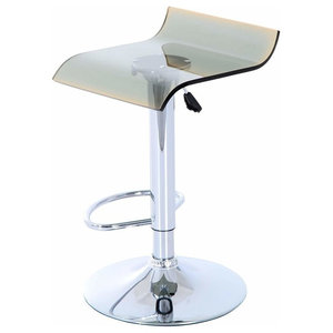 Modern Bar Stool With Swivel Acrylic Seat Adjustable Gas Lift and Footrest