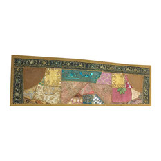 Mogul Interior - Consigned Antique Fabric, Green Cotton Sari Patchwork Sequin Embroidered Runner - Tapestries