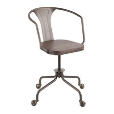 Lumisource Oregon Task Chair, Antique Metal and Espresso Wood