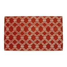 ADC Rugs   Moroccan Scroll Tile Rust Handmade Persian Style Wool Area Rug,  Rust,
