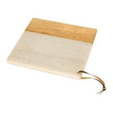 9.5 Inch Square Serving Board  Natural/White/White Finish - Decor - Decorative