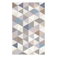 """Handmade Modern Geometric Wool Rug, Gray, 7'6""""x9'6"""""""
