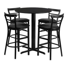Offex 24'' Round Black Laminate Table Set With 4 Ladder Back Metal Barstools