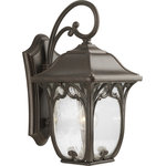 """Progress Lighting - 1-Light 9.5"""" Wall Lantern, 9.5""""X12""""X18.56"""" - One-light large wall lantern from our Enchant collection features a gracious cast pattern, clear seeded glass with delicate, decorative paisley scrolled details. Cast aluminum construction with a durable powder coated finish."""