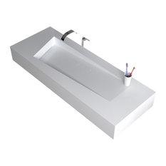"ADM Rectangular Countertop Sink, White, 47"", Matte White"