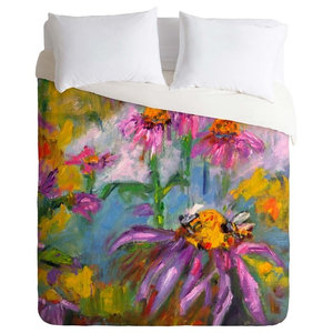 Sprigs And Blooms Blush Oversized Blush Floral Cotton Duvet Cover Contemporary Duvet Covers And Duvet Sets By Roostery