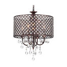 Marya 4-Light Antique Copper Round Beaded Drum Chandelier/Hanging Crystals