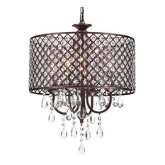 Marya 4-Light Antique Copper Round Beaded Drum Chandelier Hanging Crystals Glam