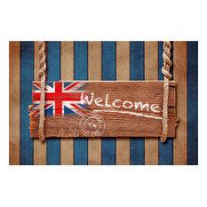 """""""Welcome"""" Union Jack Gallery Door Mat, Small"""