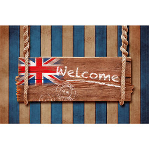 """Welcome"" Union Jack Gallery Door Mat, Small"