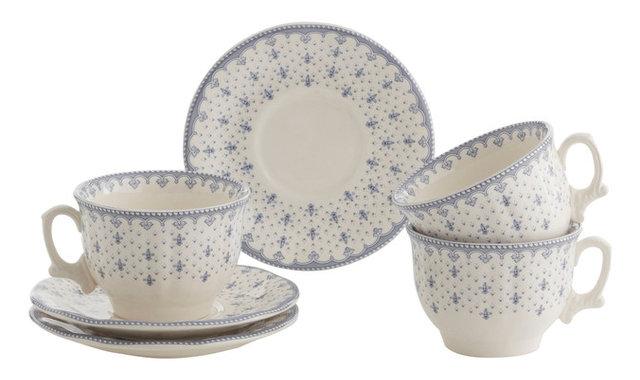 Fine China Blue Fleur de Lis 24-Piece Breakfast Dish Set  sc 1 st  Houzz & Fine China Blue Fleur de Lis 24-Piece Breakfast Dish Set ...