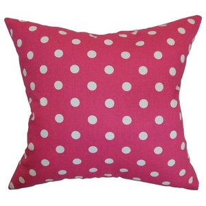 """Nancy Polka Dots Pillow Fuschia White 20""""x20"""""""