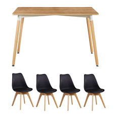 Oak Lorenzo Dining Table Set With 4 Chairs, Black